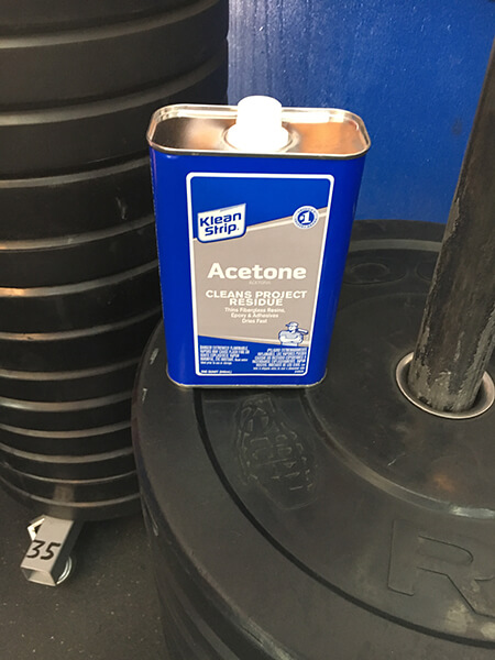 A can of acetone to dissolve epoxy residue